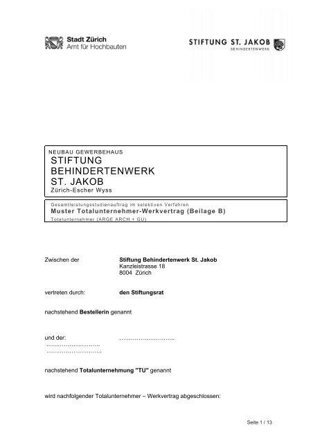10 Muster Totalunternehmer Vertrag Zürich