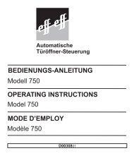 BEDIENUNGS-ANLEITUNG Modell 750 OPERATING ... - siblik