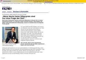 """""""Neue Hochs beim Silberpreis sind nur eine Frage ... - gk-concept.de"""