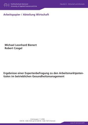 Ergebnisse einer Expertenbefragung zu - Fakultät IV - Hochschule ...