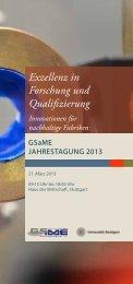 Exzellenz in Forschung und Qualifizierung - GSaME - Universität ...