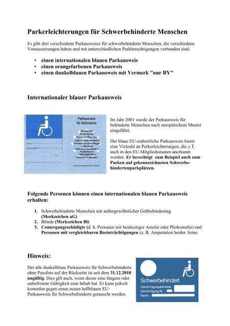Parkausweis Schwerbehindertenvertretung