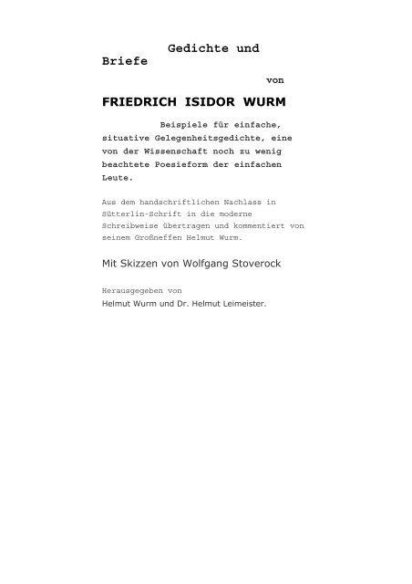 Gedichte Und Briefe Von Friedrich Isidor Wurmpdf Sokrates