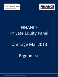 Private Equity Panel Mai 2013 - Finance Magazin