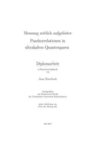Messung zeitlich aufgelöster Paarkorrelationen in ultrakalten ...