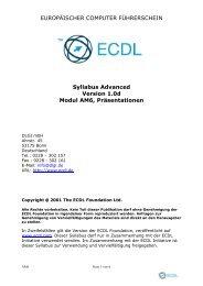 ECDL Advanced AM6 Syllabus 1 v2
