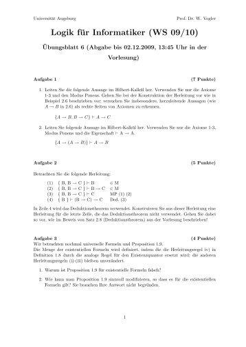 Logik für Informatiker (WS 09/10) - Universität Augsburg