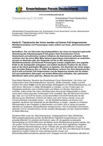 Presseerklärung 21.04.2006 - Erwerbslosen Forum Deutschland