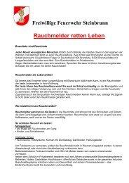 Rauchmelder retten Leben - Freiwillige Feuerwehr Steinbrunn