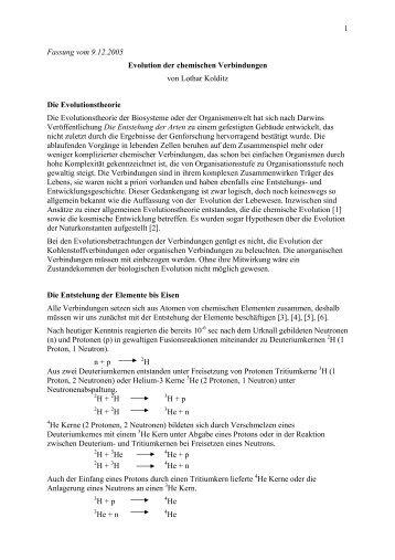 1 Fassung vom 9.12.2005 Evolution der chemischen Verbindungen ...