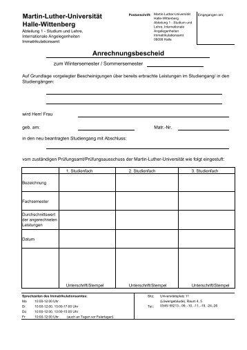 Anrechnungsbescheid - Studieren in Sachsen-Anhalt