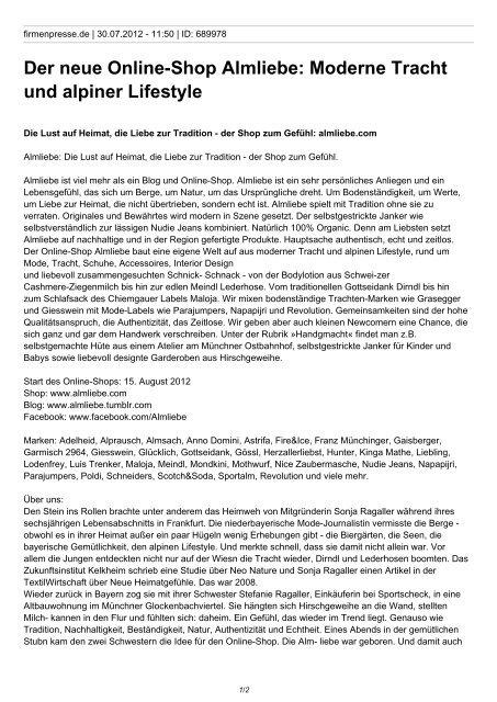 Der neue Online-Shop Almliebe: Moderne Tracht und alpiner ...