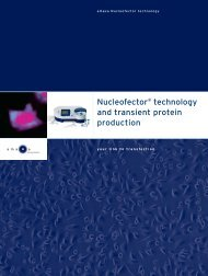 Nucleofector technology and transient protein production