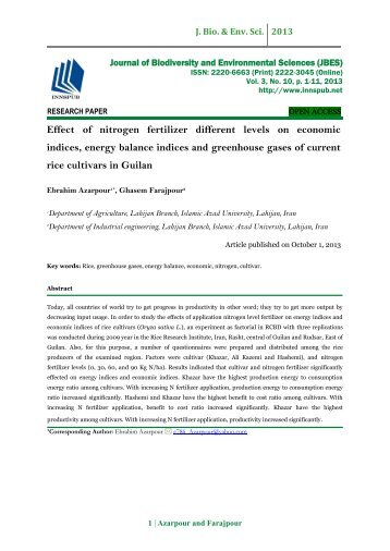 Effect  of  nitrogen  fertilizer  different  levels  on  economic  indices, energy balance indices and  greenhouse  gases of current  rice cultivars in Guilan