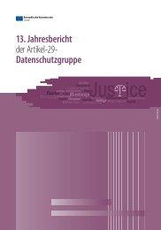13. Jahresbericht der Artikel-29- Datenschutzgruppe - Technische ...