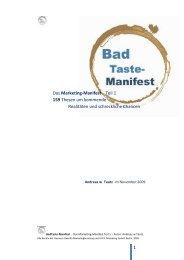 BadTaste MANIFEST das MARKETING Manifest Andreas w Tautz ...