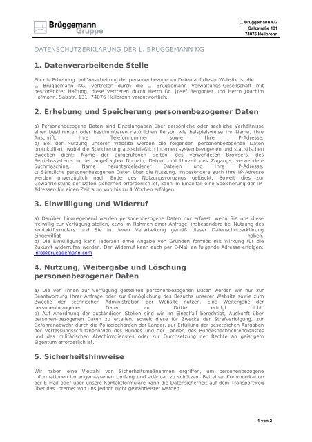 Datenschutzerklärung - L. Brüggemann KG