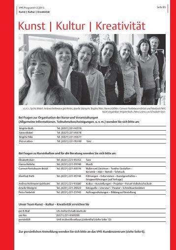 VHS-Programm 2-2013: Kunst-Kultur-Kreativität [ PDF ... - Stadt Köln