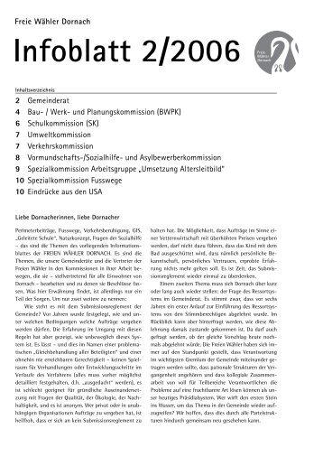 Infoblatt 2/2006 November - Freie Wähler Dornach