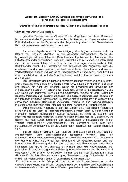 Stand der illegalen Migration auf dem Gebiet der slowakischen ...