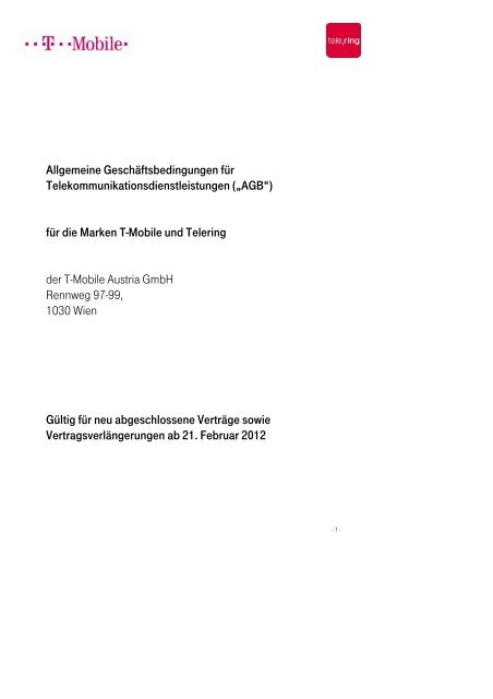 Pdf Dokument Agb Der T Mobile Austria Gmbh Ge Org