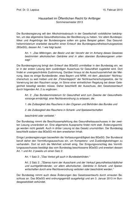 Hausarbeit Kleiner Schein ör Ss 2013 öffentliches Recht Iv