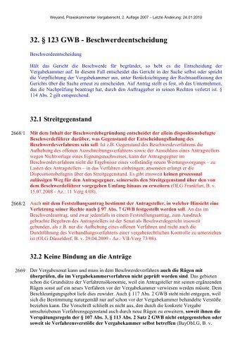 32. § 123 GWB - Beschwerdeentscheidung - Oeffentliche Auftraege