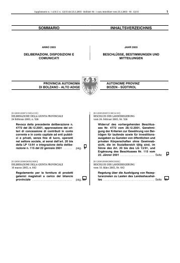 Supplemento n. 1 - Regione Autonoma Trentino Alto Adige