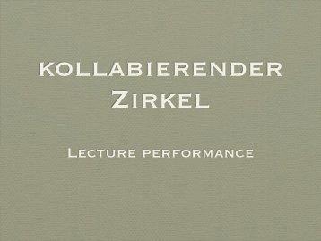 Lecture performance - Renée Schauecker