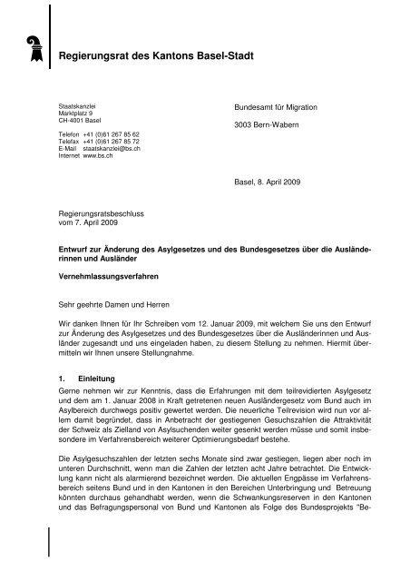 Vernehmlassung - Regierungsrat - Basel-Stadt