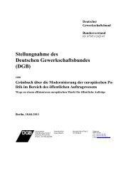 Stellungnahme des Deutschen Gewerkschaftsbundes (DGB) - forum vergabe