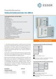 Produktinformation Einbruchmelderzentrale 561-MB16
