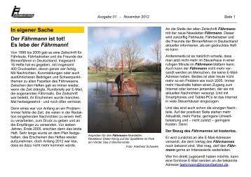 Ausgabe 1 November 2012 - Arbeitsgemeinschaft Binnenfähren in ...