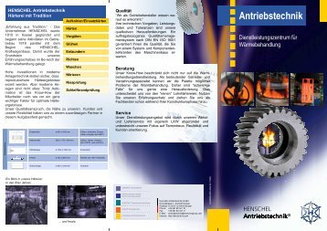 Flyer heat treatment services - Henschel Antriebstechnik