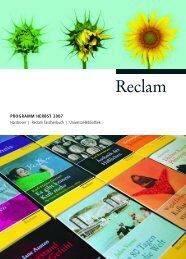 PROGRAMM HERBST 2007 Hardcover | Reclam Taschenbuch ...