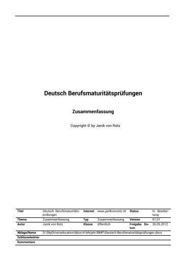 Deutsch Berufsmaturitaetspruefungen - Janik von Rotz