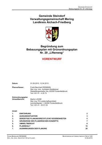 """und Grünordnungsplan Nr. 20 """"Liftenweg"""" - VG Mering"""