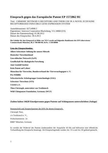Einspruch gegen das Europäische Patent EP 1 456 ... - Testbiotech