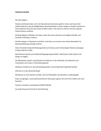 Zeitungsbericht Farasha Fashion Show 2012