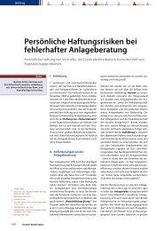 Persönliche Haftungsrisiken bei fehlerhafter Anlageberatung - Nittel