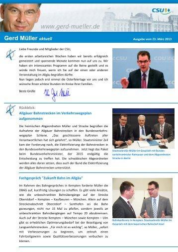 Gerd Müller aktuell - Dr. Gerd Müller