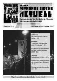 Gemeindebrief - Dezember 2009/Januar 2010 - St. Thomas ...