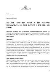 Pressemitteilung Lange Nacht der Museen - Swarovski Kristallwelten