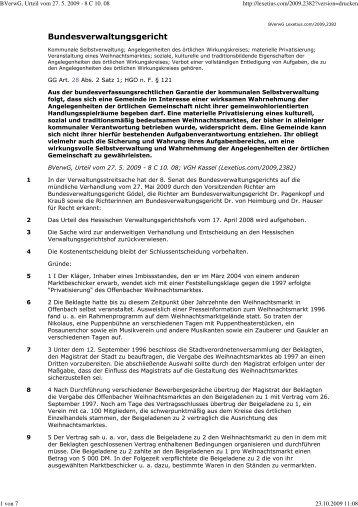 BVerwG, Urteil vom 27. 5. 2009 - 8 C 10. 08