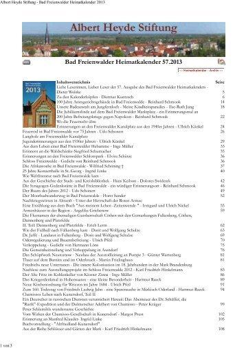 download Heimatkalender 2013 - Albert Heyde Stiftung