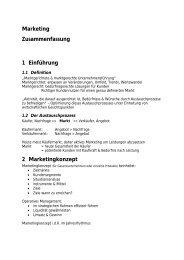 Marketing Zusammenfassung 1 Einführung 2 Marketingkonzept