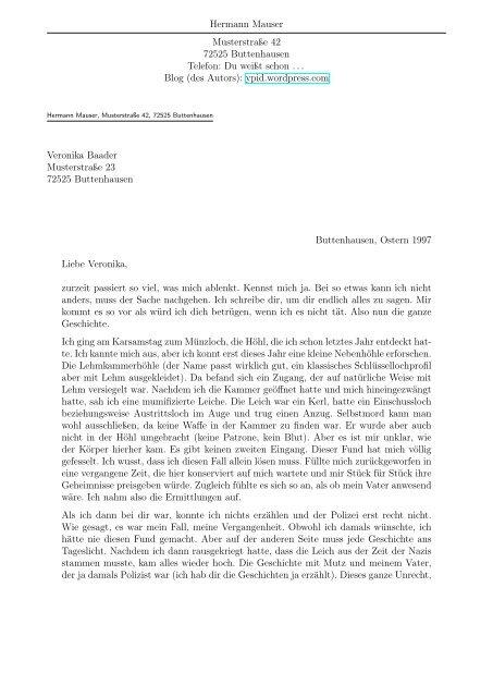 Grafeneck Brief Von Mauser An Veronika Hostorama