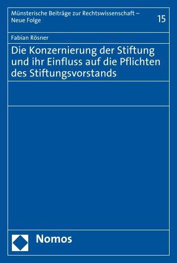 Die Konzernierung der Stiftung und ihr Einfluss auf die ... - Nomos