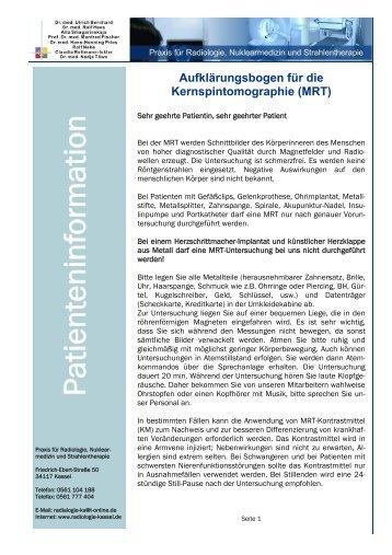 Aufklärungsbogen Kernspintomographie (MRT) - Radiologie-kassel ...