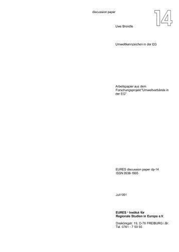 discussion paper Uwe Brendle Umweltkennzeichen in der EG ...